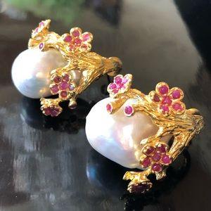 Royal Genuine Baroque Pearl Ruby Earrings